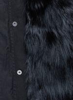 Raccoon trim hooded fox fur parka