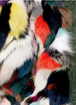 Detail View - Click To Enlarge - Mr & Mrs Italy - Raccoon hood fox fur patchwork bomber jacket