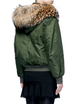 Back View - Click To Enlarge - Mr & Mrs Italy - Raccoon hood fox fur patchwork bomber jacket