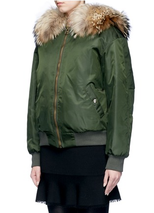 Front View - Click To Enlarge - Mr & Mrs Italy - Raccoon hood fox fur patchwork bomber jacket