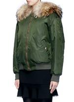 Raccoon hood fox fur patchwork bomber jacket