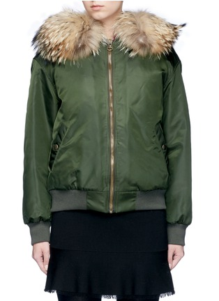 Main View - Click To Enlarge - Mr & Mrs Italy - Raccoon hood fox fur patchwork bomber jacket