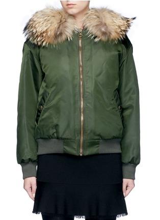 Mr & Mrs Italy-Raccoon hood fox fur patchwork bomber jacket