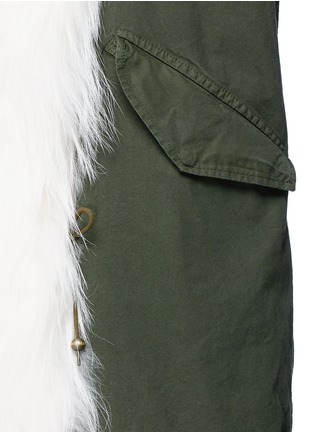 Mr & Mrs Italy - 'London Green' raccoon fur trim canvas parka
