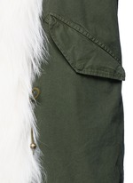 'London Green' raccoon fur trim canvas parka
