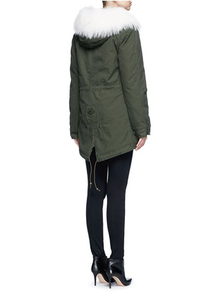 Back View - Click To Enlarge - Mr & Mrs Italy - 'London Green' raccoon fur trim canvas parka