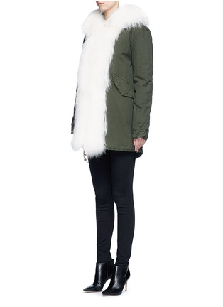 Front View - Click To Enlarge - Mr & Mrs Italy - 'London Green' raccoon fur trim canvas parka