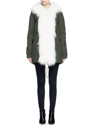 Main View - Click To Enlarge - Mr & Mrs Italy - 'London Green' raccoon fur trim canvas parka