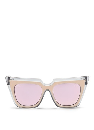 Main View - Click To Enlarge - self-portrait - x Le Specs 'Edition One' layered acetate cat eye mirror sunglasses