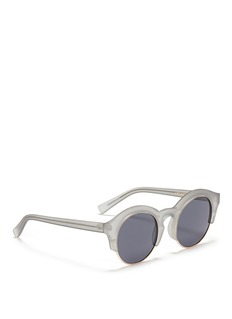 self-portrait x Le Specs 'Edition Five' half rim frosted acetate round sunglasses
