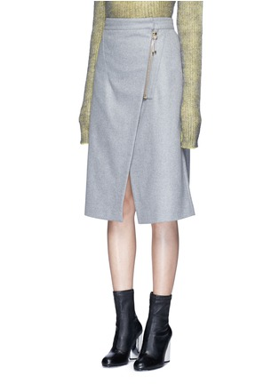 Front View - Click To Enlarge - Acne Studios - 'Panna' wrap front flannel pencil skirt