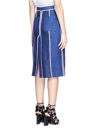Back View - Click To Enlarge - Acne Studios - 'Kent' piped linen-wool burlap skirt
