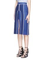 'Kent' piped linen-wool burlap skirt