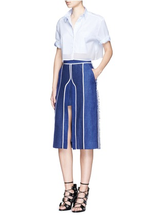 Figure View - Click To Enlarge - Acne Studios - 'Kent' piped linen-wool burlap skirt