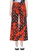 'Olexa' sakura print cropped flare pants