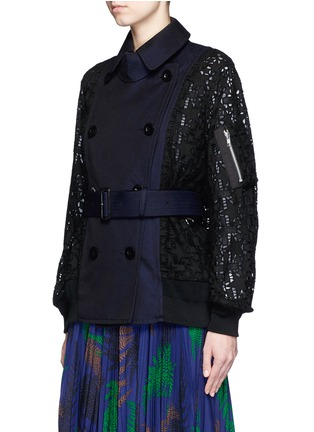 Sacai - Double breasted star lace twill short coat