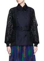 Double breasted star lace twill short coat