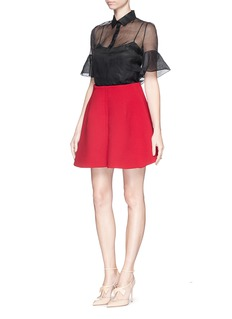 DELPOZO Fold front virgin wool crepe skirt