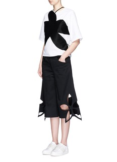 ROSIE ASSOULINFloral cutout cotton twill culottes