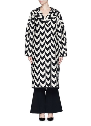 Ms MIN - Chevron intarsia blanket wool oversize coat
