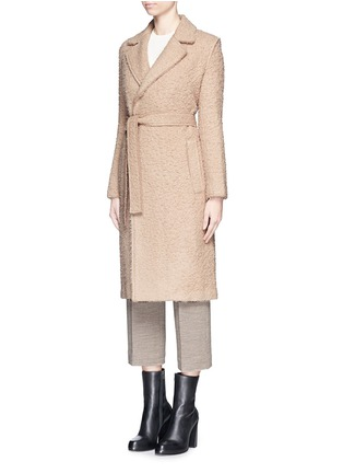 Front View - Click To Enlarge - Helmut Lang - Shaggy alpaca wool belted coat
