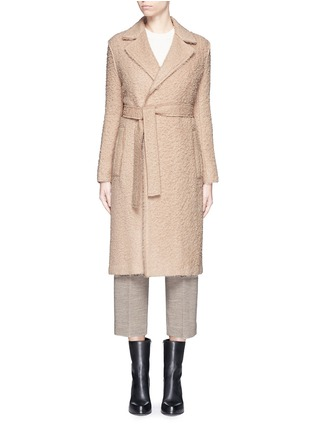 Main View - Click To Enlarge - Helmut Lang - Shaggy alpaca wool belted coat