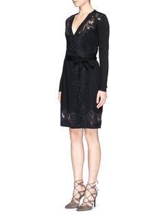 DIANE VON FURSTENBERG'Leandra' floral lace knit wrap dress