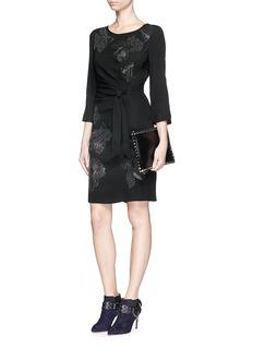 DIANE VON FURSTENBERG'Zoe' stud embellished ruche tie dress