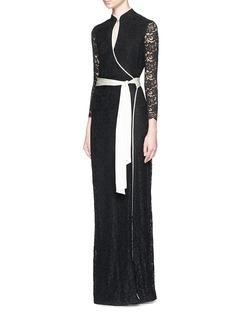 DIANE VON FURSTENBERGSatin belt guipure lace qipao maxi dress