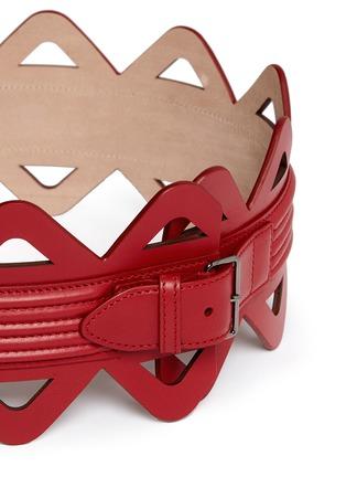 Azzedine Alaïa-Thin triangle laser cut leather corset belt