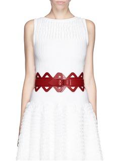 Alaïa Thin triangle laser cut leather corset belt
