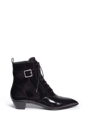 Main View - Click To Enlarge - MARC BY MARC JACOBS SHOES - Ankle strap leather lace-up combat boots