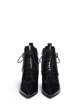 Figure View - Click To Enlarge - MARC BY MARC JACOBS SHOES - Ankle strap leather lace-up combat boots