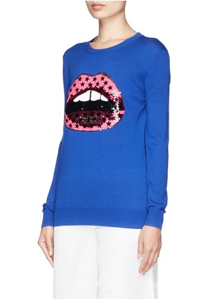 Front View - Click To Enlarge - MARKUS LUPFER - 'Hot Pink Star' sequin Lara Lip sweater