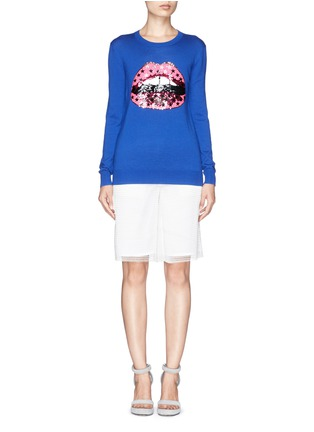 Figure View - Click To Enlarge - MARKUS LUPFER - 'Hot Pink Star' sequin Lara Lip sweater