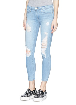Front View - Click To Enlarge - Frame Denim - 'Le Skinny de Jeanne' distressed cropped jeans
