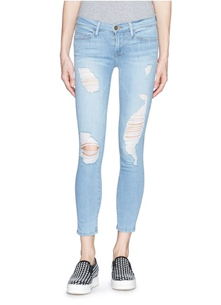 Main View - Click To Enlarge - Frame Denim - 'Le Skinny de Jeanne' distressed cropped jeans