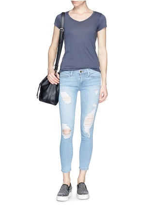 Figure View - Click To Enlarge - Frame Denim - 'Le Skinny de Jeanne' distressed cropped jeans