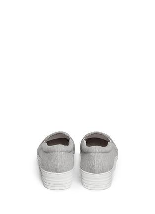 Back View - Click To Enlarge - Joshua Sanders - 'N.Y' fleece letter jersey flatform skate slip-ons
