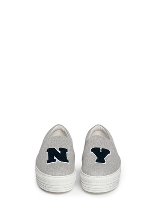 Figure View - Click To Enlarge - Joshua Sanders - 'N.Y' fleece letter jersey flatform skate slip-ons