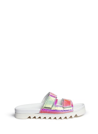 Main View - Click To Enlarge - Joshua Sanders - 'Viper' holographic foil slide sandals