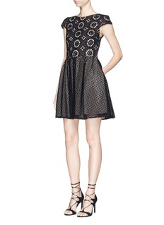 ALICE + OLIVIA 'Sonny' embroidered eyelet lace flare dress