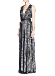 ALICE + OLIVIA 'Sybil' plunge V-neck lace maxi dress