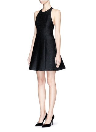 Front View - Click To Enlarge - alice + olivia - 'Danie' open back brocade box pleat dress
