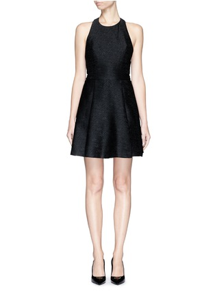 Main View - Click To Enlarge - alice + olivia - 'Danie' open back brocade box pleat dress