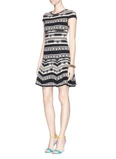 ALICE + OLIVIA'Darby' geometric pattern intarsia knit dress