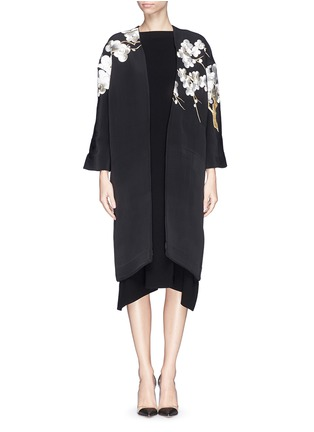 Main View - Click To Enlarge - Ms MIN - 'Met Ball' floral embroidery scuba knit coat