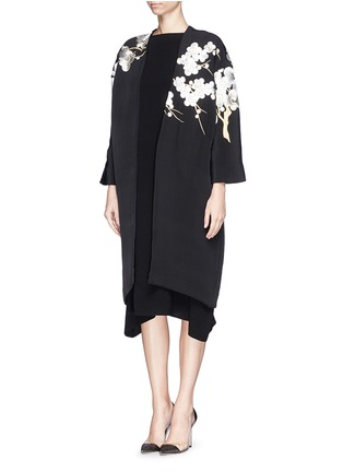 Figure View - Click To Enlarge - Ms MIN - 'Met Ball' floral embroidery scuba knit coat