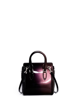 Back View - Click To Enlarge - Alexander McQueen - 'Heroine' mini iridescent effect patent leather satchel