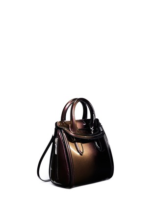 Figure View - Click To Enlarge - Alexander McQueen - 'Heroine' mini iridescent effect patent leather satchel